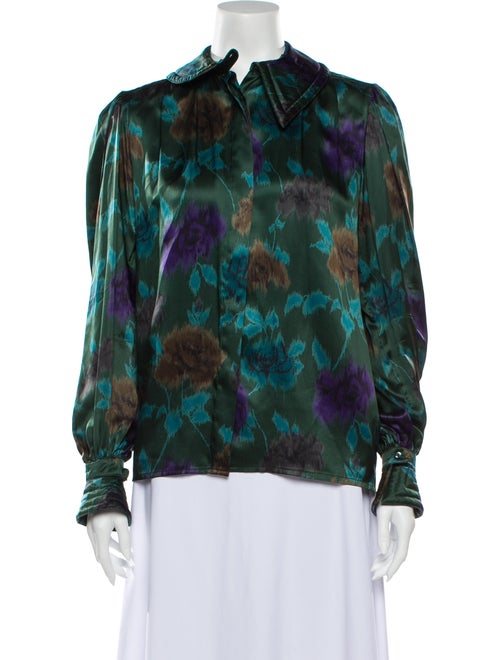 Escada Silk Floral Print Blouse Green