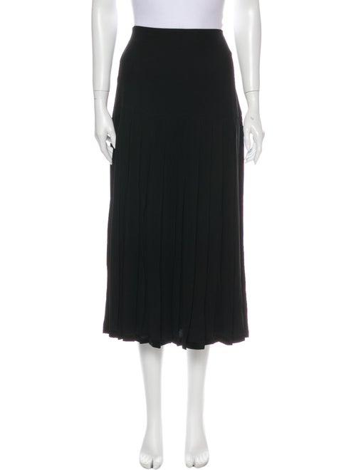 Escada Pleated Accents Midi Length Skirt Black