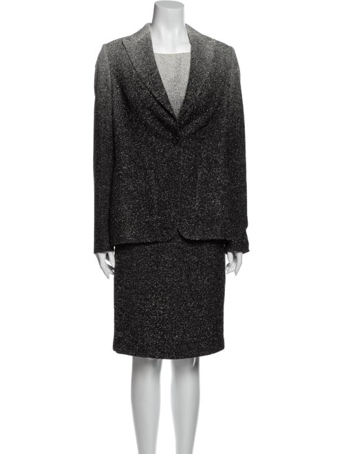 Escada Tweed Pattern Dress Set Grey