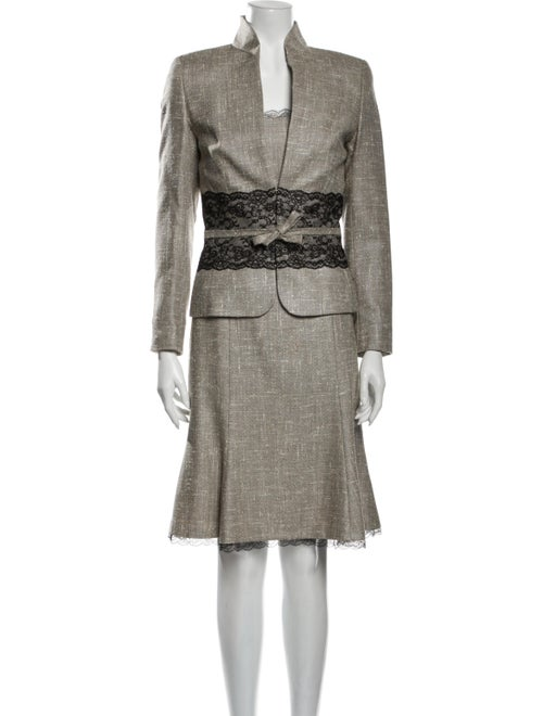 Escada Wool Tweed Pattern Dress Set Wool