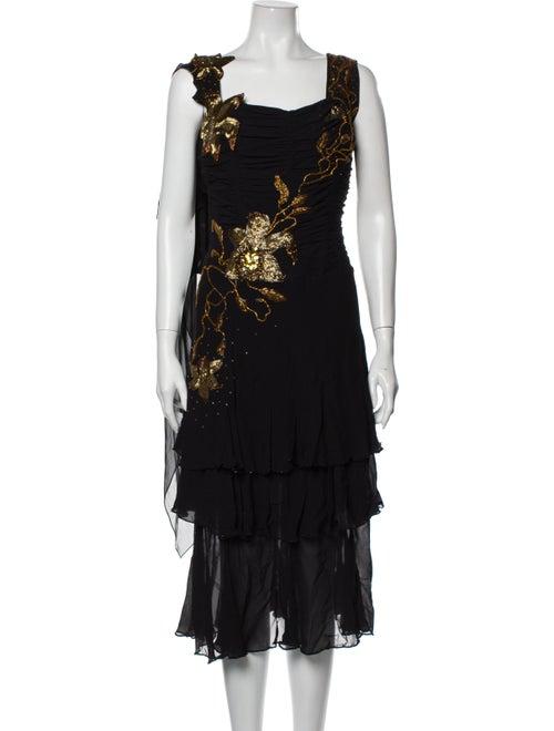 Escada Silk Long Dress Black