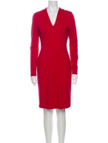 Escada V-Neck Knee-Length Dress