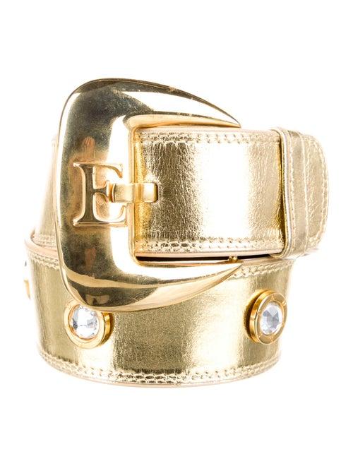 Escada Wide Patent Leather Waist Belt Gold