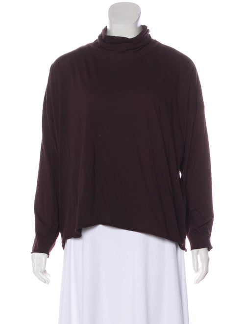 Eskandar Turtleneck Long Sleeve Top Brown