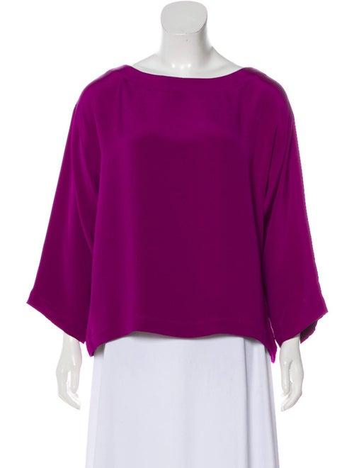 Eskandar Long Sleeve Silk Blouse Violet