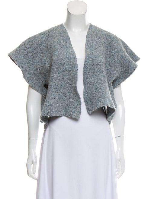 Eskandar Wool Cropped Cardigan Grey