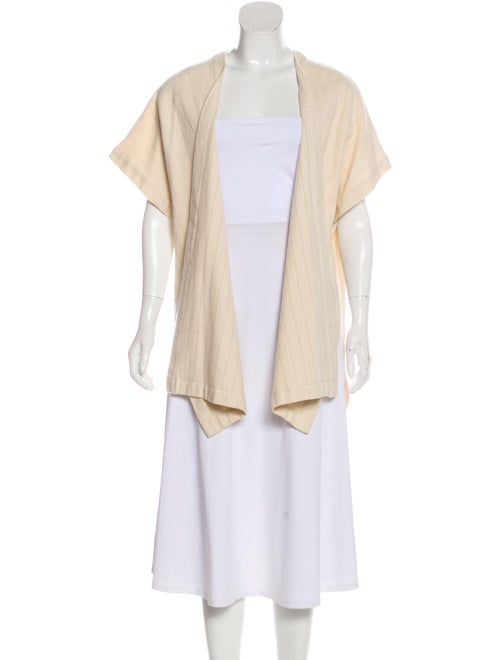 Eskandar Wool Short Sleeve Cardigan Beige