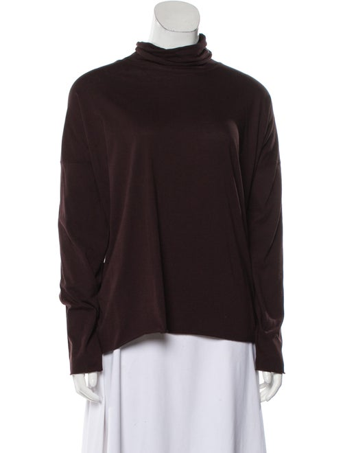 Eskandar Turtleneck Long Sleeve Sweatshirt Purple