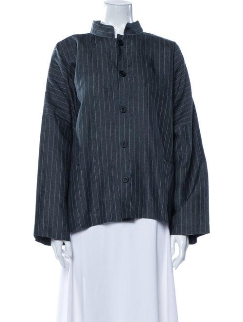 Eskandar Linen Striped Jacket Grey