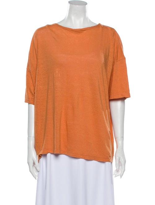 Eskandar Linen Bateau Neckline T-Shirt Orange