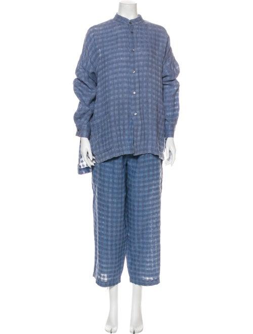 Eskandar Linen Plaid Print Pant Set Blue
