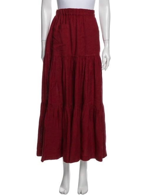 Eskandar Linen Long Skirt Red