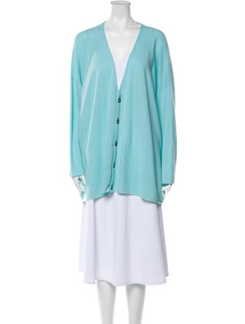 Eskandar Plunge Neckline Sweater Blue