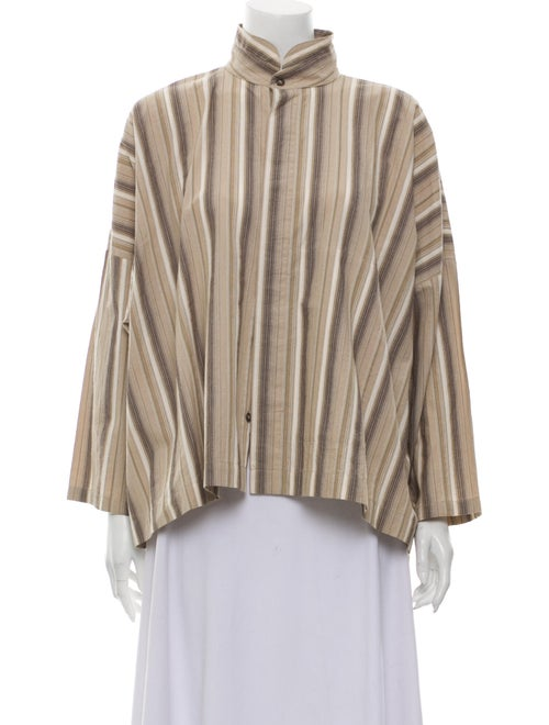 Eskandar Striped Mock Neck Blouse