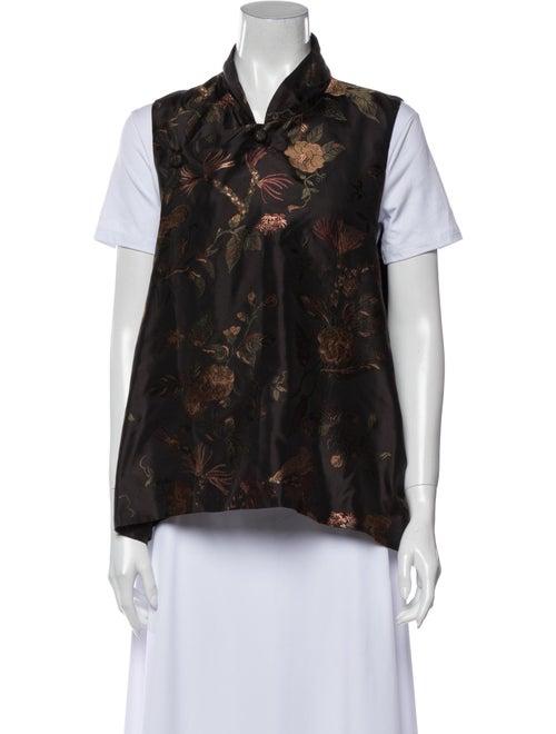 Eskandar Printed Vest Brown