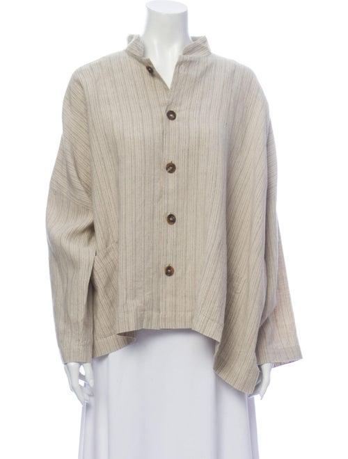 Eskandar Linen Striped Button-Up Top