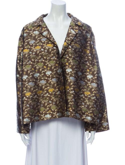 Eskandar Silk Printed Blazer Brown