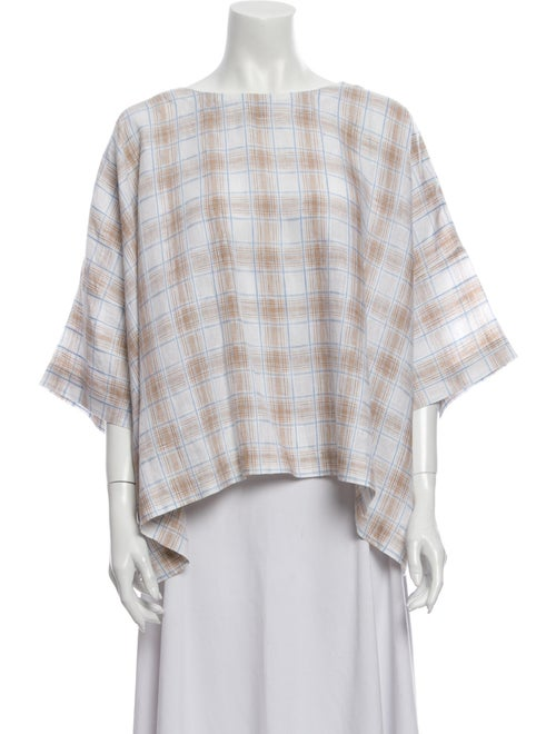 Eskandar Linen Plaid Print Blouse