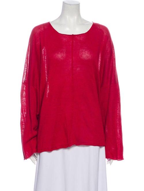 Eskandar Linen Scoop Neck Sweater Red
