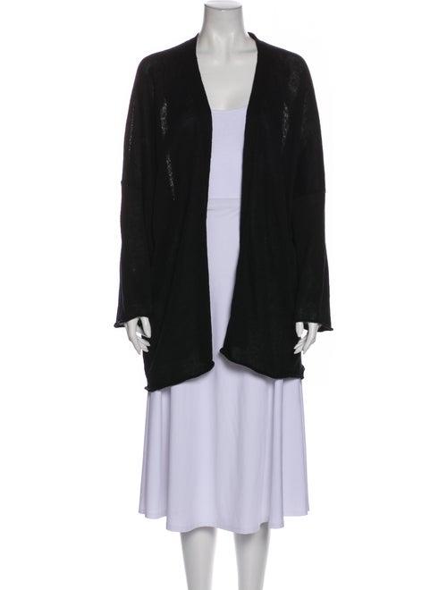 Eskandar Linen Open Front Sweater Black