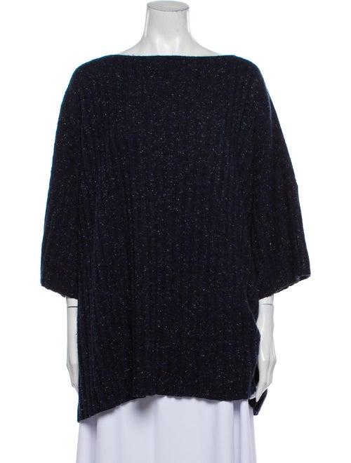 Eskandar Cashmere Bateau Neckline Sweater Blue