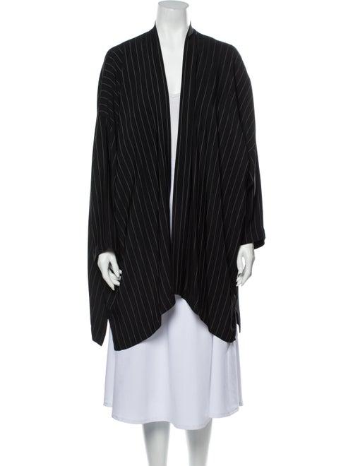 Eskandar Striped Coat Black