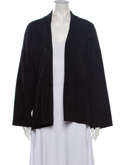 Eskandar Leather Cape Black