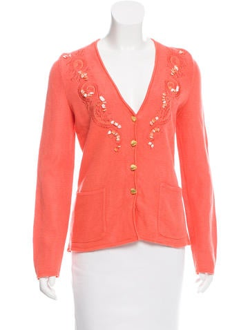 Escada Margaretha Ley Embroidered Knit Cardigan None