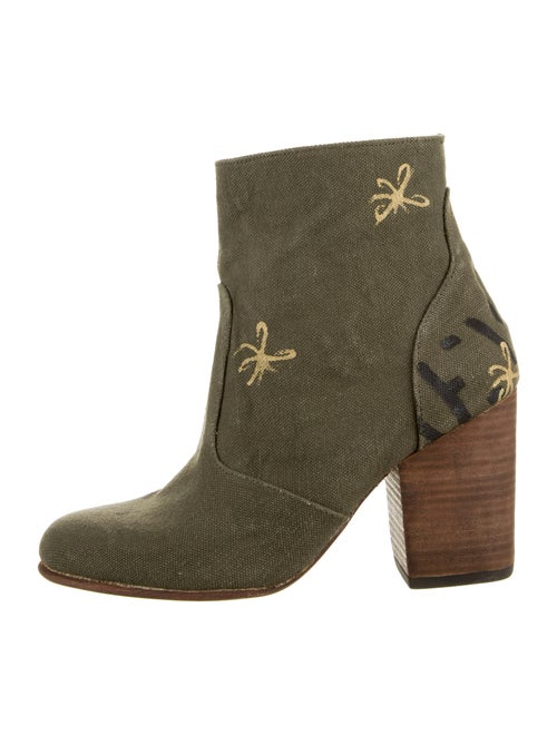 Esquivel Printed Embroidered Accent Boots Green