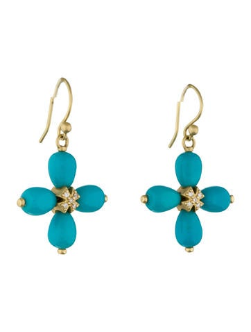 Turquoise & Diamond Cross Earrings