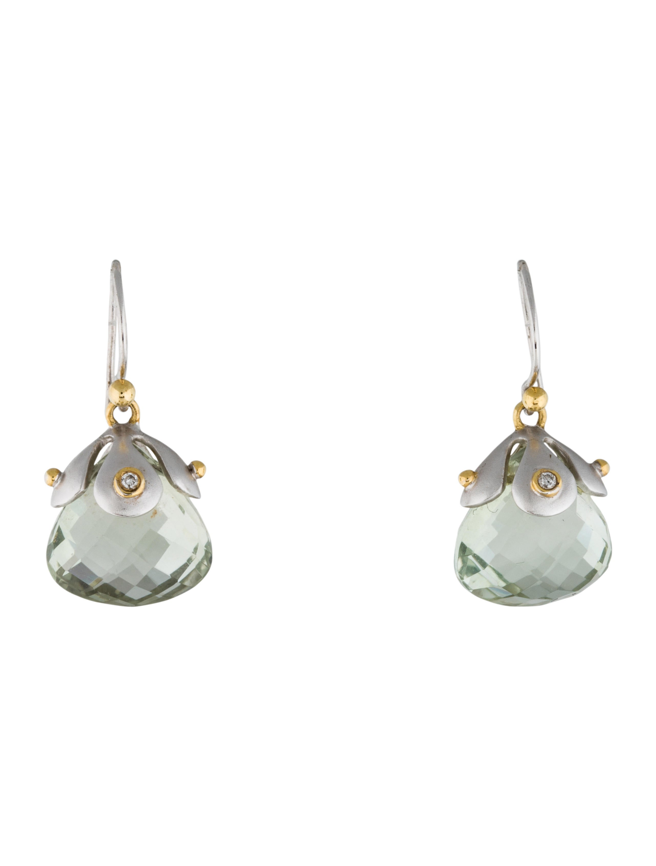 elizabeth showers two tone prasiolite drop earrings