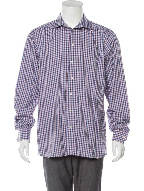 Eton Cutaway Collar Checkered Shirt blue