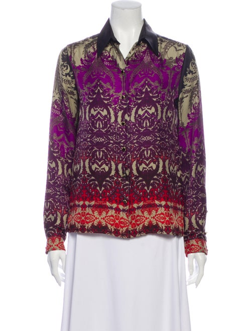 Etro Silk Printed Button-Up Top Purple