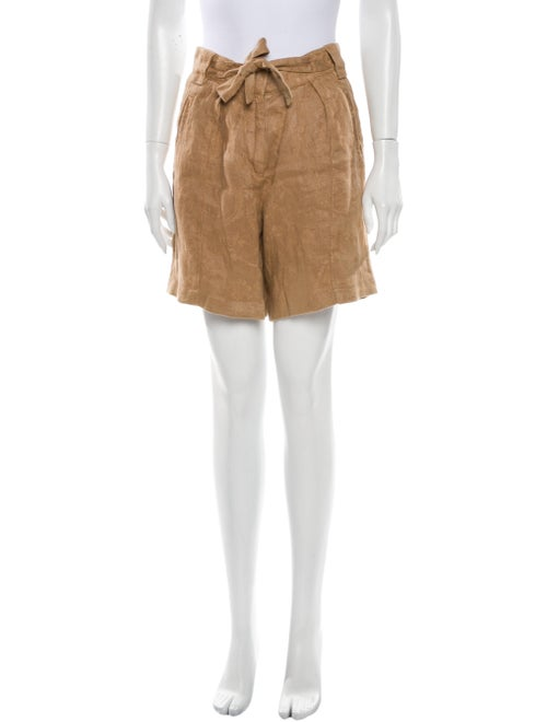 Etro Linen Knee-Length Shorts Brown