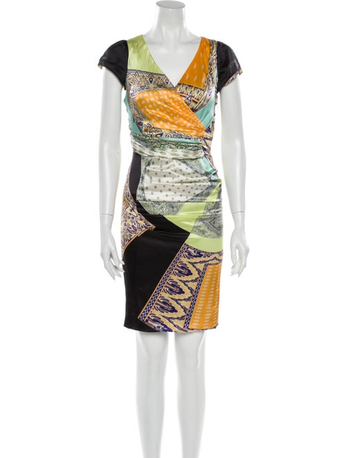 Etro Silk Knee-Length Dress Orange