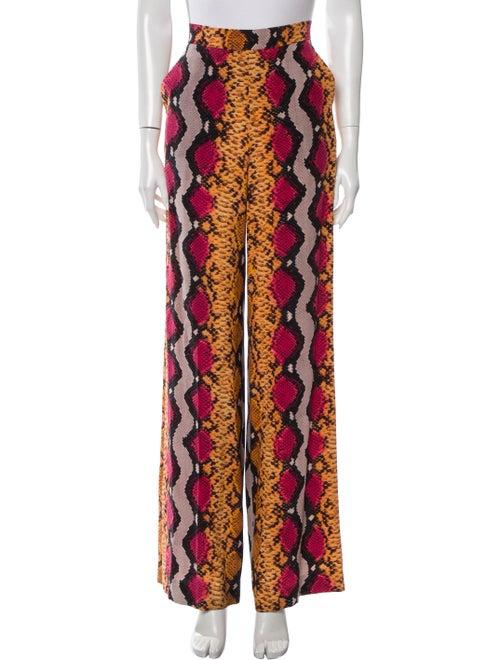 Etro Silk Wide Leg Pants Orange