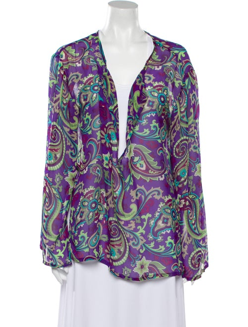 Etro Silk Paisley Print Blouse Purple