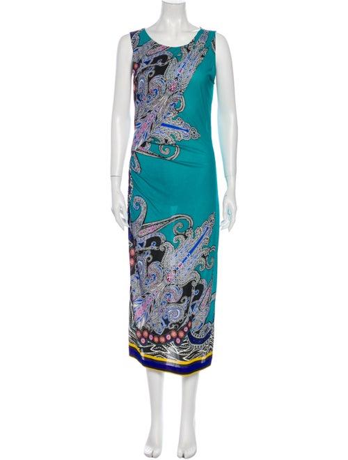Etro Paisley Print Sleeveless Dress Teal