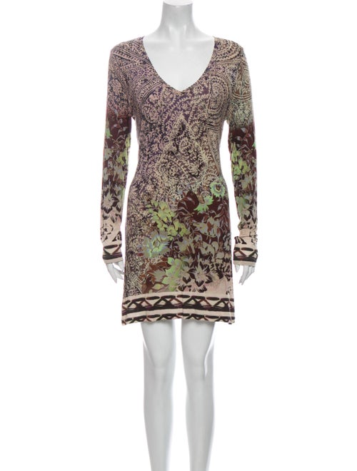 Etro Printed Mini Dress Brown