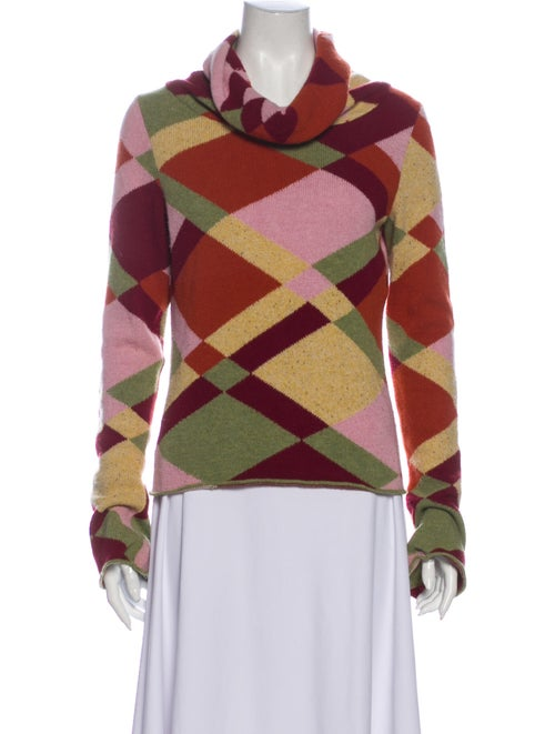 Etro Printed Cowl Neck Sweater Orange