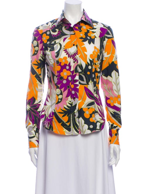 Etro Floral Print Long Sleeve Button-Up Top Purple