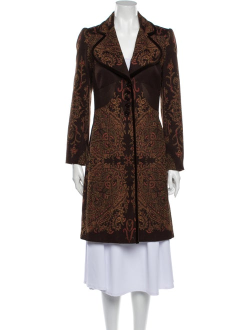 Etro Paisley Print Coat Brown