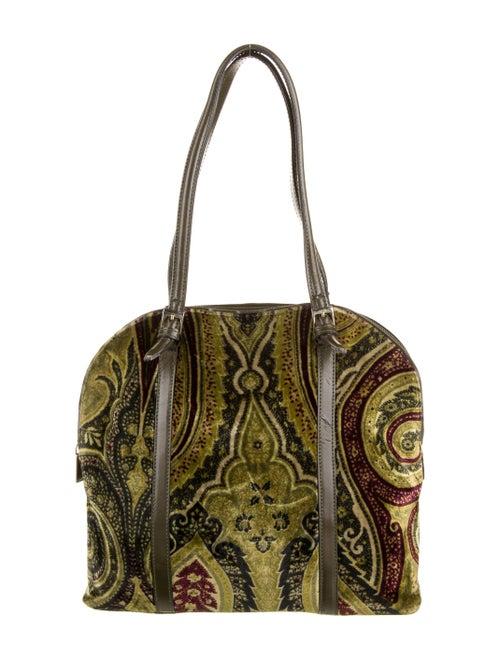 Etro Velvet Printed Shoulder Bag Green