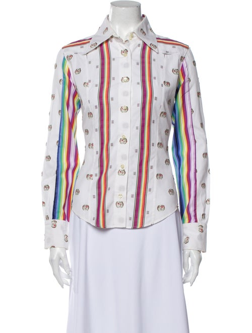 Etro Printed Long Sleeve Button-Up Top White