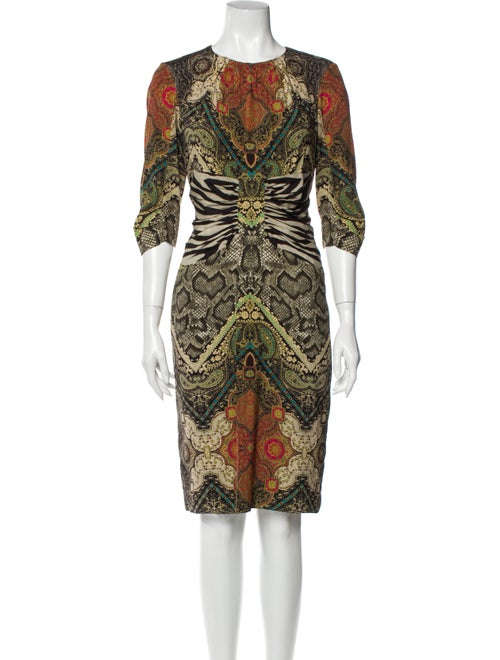 Etro Silk Knee-Length Dress Brown