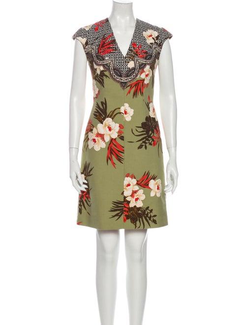 Etro Floral Print Mini Dress Green