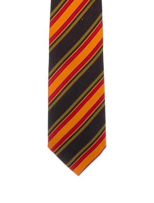 Etro Silk Striped Tie orange