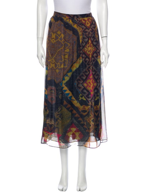 Etro Silk Midi Length Skirt Brown