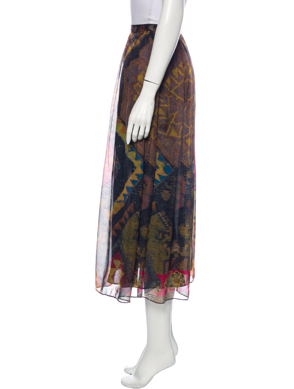 Etro Silk Midi Length Skirt Brown - image 2