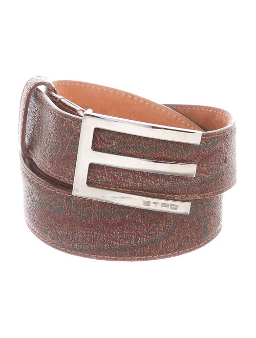 Etro Paisley Leather Belt brown